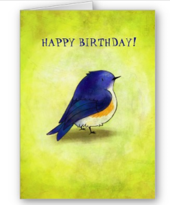 Blue Birdie Greeting Card (customizable at Zazzle)