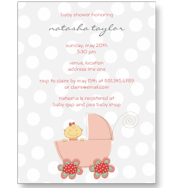 pink baby girl pram baby shower invitation card postcard from zazzle