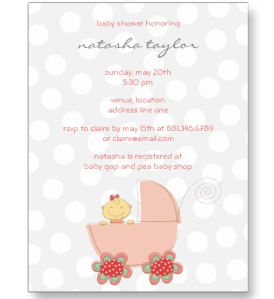 Pink Baby Girl & Pram Baby Shower Invitation Card Postcard from Zazzle.com_1243489693543
