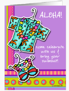 luau invitation Greeting Cards_1245745336237