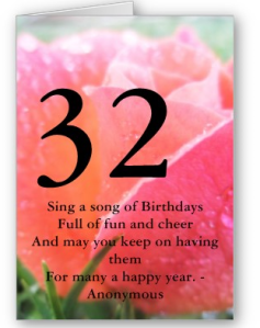 32nd Birthday Card from Zazzle.com_1248241822886