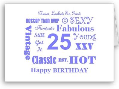 Cute 25 Year Old Birthday Card