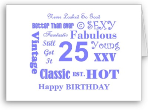 Cute 25 Year Old Birthday Card From Zazzle 1247551717091