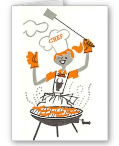 Retro Woman Grilling Card from Zazzle.com_1248586615291