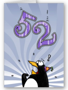 52nd Birthday - Penguin Surprise Card from Zazzle.com_1250230324422