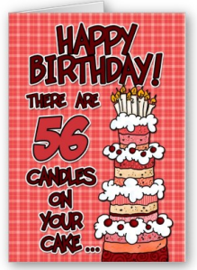 Happy Birthday - 56 Years Old Card from Zazzle.com_1250665159312